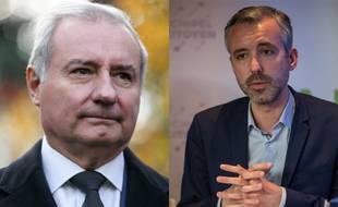 Le maire sortant de Toulouse, Jean-Luc Moudenc (LR), et le candidat de la liste Archipel citoyen, Antoine Maurice (EELV).