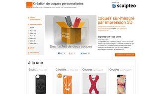Page d'accueil de l'option Sculpteo sur le site d'Orange