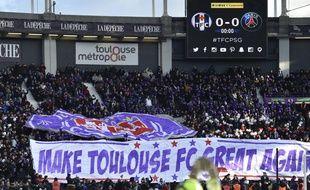 Des fans du TFC au Stadium de Toulouse contre le Paris Saint-Germain, le 10 février 2018.
