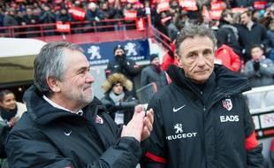 René Bouscatel et Guy Novès le 23 février 2013, lors du 1.001e match du manager du Stade Toulouse contre Bayonne, à Ernest-Wallon.