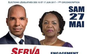 Capture écran de l'affiche d'Olivier Serva, candidat pour la 1re circonscription de Guadeloupe, pour les législatives, publié sur son compte Twitter.