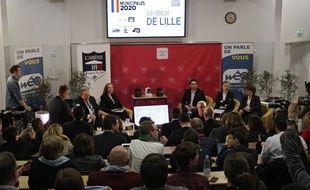Lille, le 25 février 2020. Débat entre les candidats à l'élection municipale à Lille organisé par l'école Sciences Po Lille avec Martine Aubry, Stéphane Baly, Julien Poix, Violette Spillebout et Marc-Philippe Daubresse.