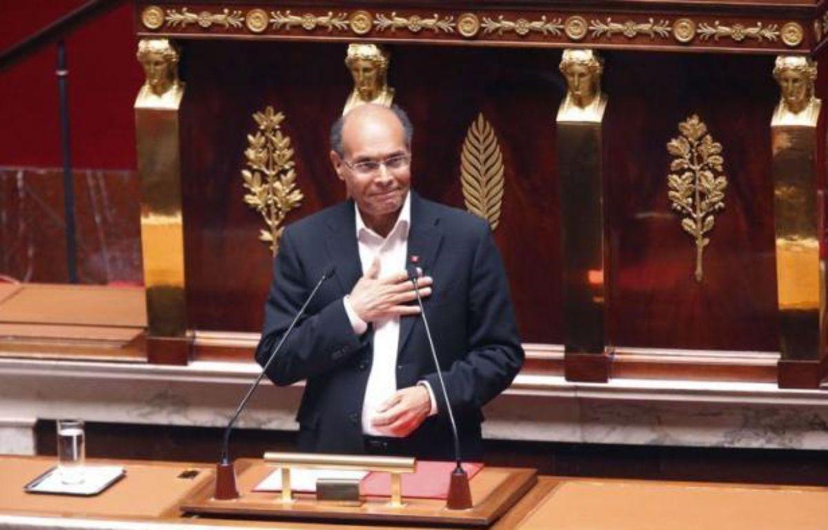 Le président tunisien Moncef Marzouki a défendu son alliance avec le parti islamiste Ennahda lors d'un discours prononcé mercredi devant l'Assemblée nationale française, un honneur que n'avait reçu aucun dirigeant étranger depuis 2006. – Francois Guillot afp.com