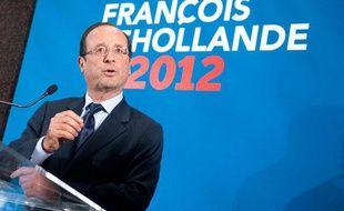 Le 4 janvier 2012 à Pessac, conférence de presse de François Hollande.
