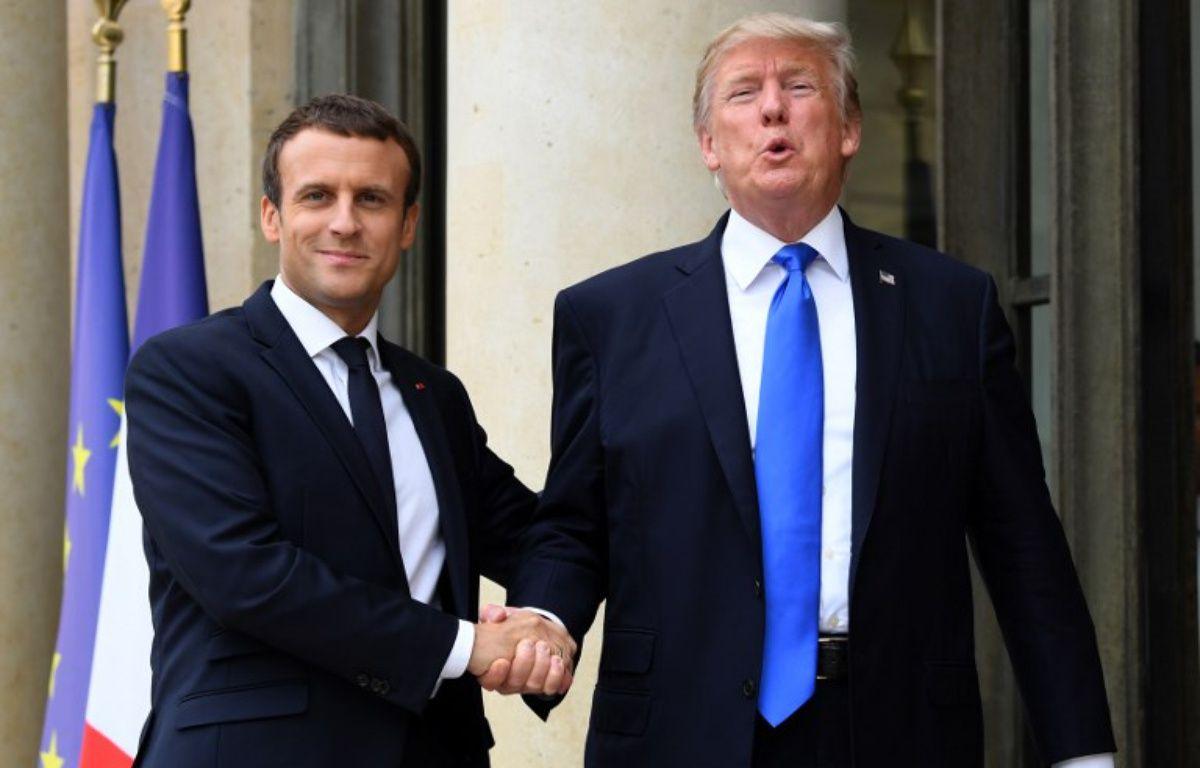 Donald Trump et Emmanuel Macron à Paris. – ALAIN JOCARD / AFP