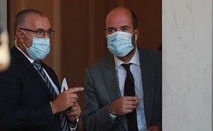 Clement Leonarduzzi, à droite, le 8 septembre 2020 à l'Elysée. Il est désormais à la tête de la communication de l'Elysée.