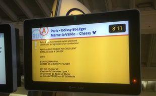 Ecran d'information sur le RER A le 29 janvier 2015