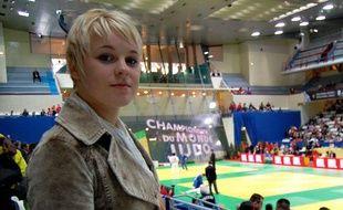 La judoka française Morgane Ribout, lors des championnats du monde junior à Coubertin, le 23 octobre 2009.