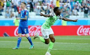 Musa célèbre son premier but face à l'Islande.
