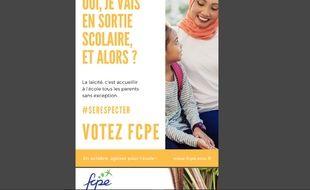 L'affiche de la FCPE représentant une mère voilée qui accompagne une sortie scolaire.