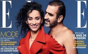 Eric Cantona pose avec sa compagne Rachida Brakni pour le numéro de «Elle» à paraître le 16 octobre 2015.
