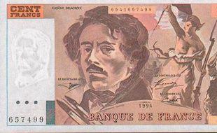 Un billet de 100 francs à l'effigie d'Eugène Delacroix.
