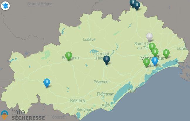 Le site propose de connaître l'état de la sécheresse dans chaque département
