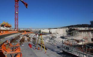 Vue intérieure du chantier de la Bordeaux Métropole Arena, à Floirac