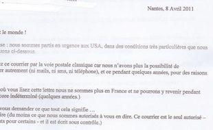 Capture d'écran de la lettre présentée comme ayant été par Xavier Dupont de Ligonnès à 9 de ses proches.