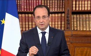 Capture d'écran - le président français Francois Hollande s'adressant à la nation sur les chaînes de télévision depuis l'Elysée, le 26 mai 2014, au lendemain des élections européennes