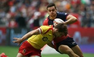 Pablo Fontes réussit un plaquage avec l'équipe d'Espagne de rugby à VII (on n'a pas trouvé de photos de rugby à XV)