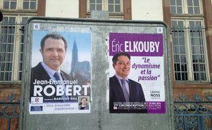 Strasbourg, le 29 mai 2016. - Le socialiste Eric Elkouby a battu Jean-Emmanuel Robert (LR) lors de l'élection législative partielle dans la 1re circonscription du Bas-Rhin à Strasbourg.