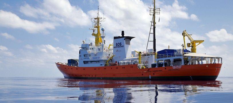 L'Aquarius, le bateau de sauvetage de migrants de l'ONG SOS Méditerranée.