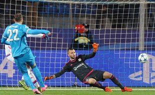 Dziuba, l'attaquant du Zenith Saint-Petersbourg, le 20 octobre 2015 contre Lyon.