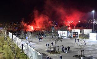 Des incidents ont eu lieu aux abords du stade de l'OL avant la rencontre entre Lyon et le CSKA Moscou en Ligue Europa, le 15 mars 2018.