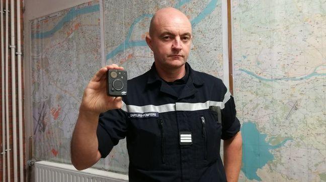 Rezé, le 24 septembre 2019, reportage à la caserne des pompiers du Sdis 44 à l'occasion de la livraison de caméras-piétons
