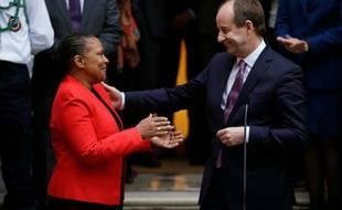Passation de pouvoir entre Christiane Taubira et Jean-Jacques Urvoas à Paris le 27 janvier 2016