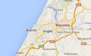 Google map de Bayonne (Pyrénées-Atlantiques).