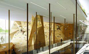 Image de synthèse prévisionnelle de l'intérieur de l'UCPA Sport Station à Nantes.