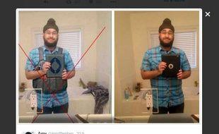 Message posté le 15 novembre 2015 sur Twitter à propos d'un pseudo-djihadiste victime d'un photomontage.