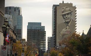 La fresque murale à Montréal en hommage à Leonard Cohen.