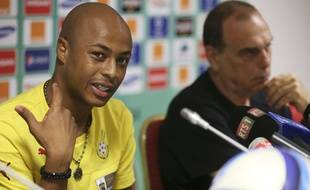 Ghana's captain Andre Ayew, left, speaks during a press conference a head of their African Cup of Nations Finals soccer match with Ivory Coast on Sunday at  Estadio De Bata, Equatorial Guinea, Saturday Feb. 7, 2015. (AP Photo/Sunday Alamba)/NIN107/882941166752/1502071347