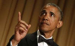 Barack Obama lors du dîner l'Association des correspondants de la Maison Blanche à Washington le 25 avril 2015