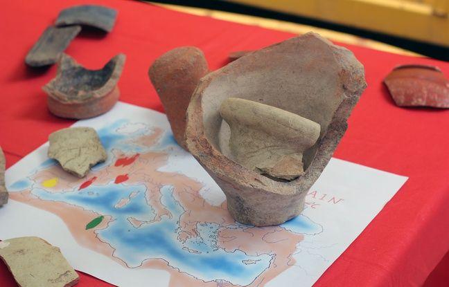 Des céramiques retrouvées sur le chantier de fouilles archéologiques du parc des Tanneurs à Rennes.