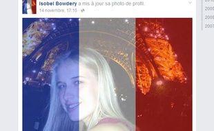 Capture d'écran du profil Facebook de Isobel Bowdery.