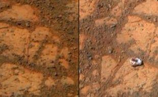 Capture d'écran d'une vidéo du «Telegraph» sur la mystérieuse roche apparue près du robot Opportunity sur Mars en janvier.
