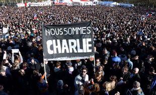 La foule place de la République lors de la marche républicaine du 11 janvier 2015. AFP PHOTO / JEAN PIERRE MULLER