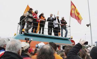 François Hollande, le 24 février 2012 sur le site ArcelorMittal de Florange (Moselle).