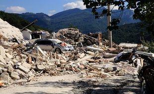 Un village italien après un séisme en 2016.