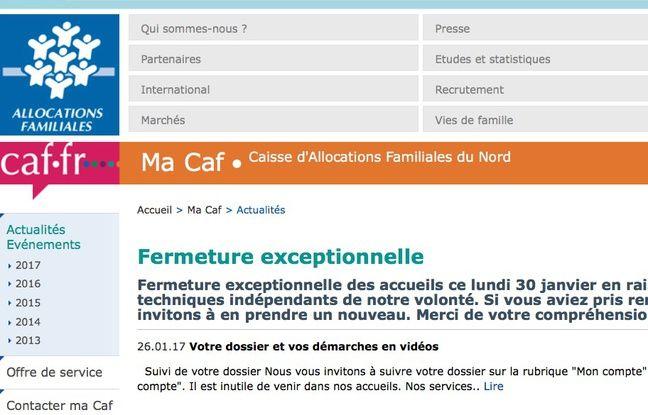 Capture d'écran du site internet de la CAF du Nord le 30 janvier 2017