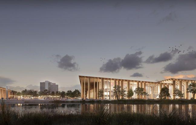 La vue sur le parvis du futur nouveau parc des expositions de Strasbourg, derrière le canal de dérivation.