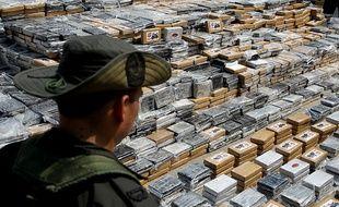 7 tonnes de cocaïne saisies au port de Carthagène des Indes, en Colombie, en avril 2014. Il s'agit de l'une des plus importantes saisies de ces dix dernières années en Colombie.