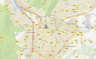 Google map de la ville de Grenoble.