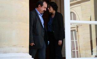 Philippe Martinez et  Myriam El Khomri à l'issue de leur rencontre le 17 juin 2016 au ministère du Travail à Paris