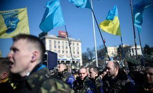 Manifestation, le 9 mars 2014, place de l'Indépendance à Kiev pour commémorer l'anniversaire du poète Taras Chevtchenko