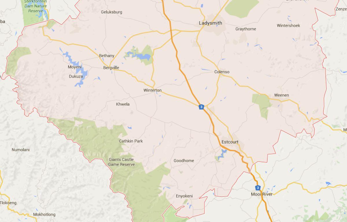 la municipalité d'Uthukela, en Afrique du Sud. – Capture d'écran / Google Maps
