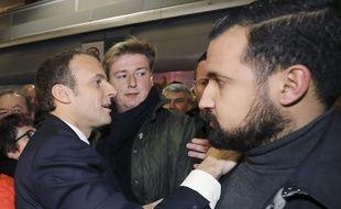 François-Xavier Lauch, chef de cabinet de Macron (au centre) entouré d'Emmanuel Macron et d'Alexandre Benalla.