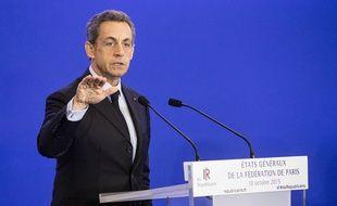 Nicolas Sarkozy au QG des Républicains à Paris le 10 octobre 2015.