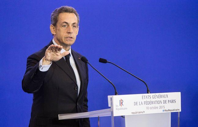 Nicolas Sarkozy au QG des Rpublicains  Paris le 10 octobre 2015.