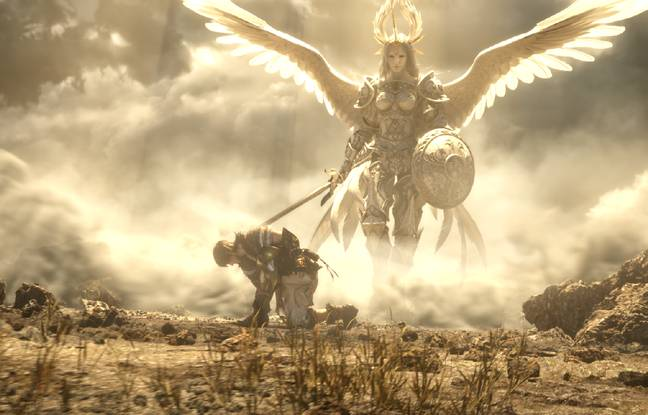 Le héros un genou à terre mais déjà prêt à se relever... une allégorie de «Final Fantasy XIV»?